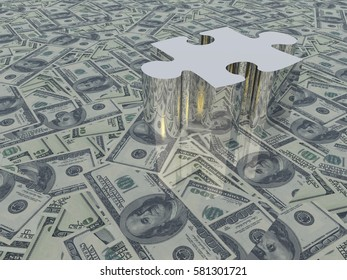 USA Currency Puzzle  3D Rendered