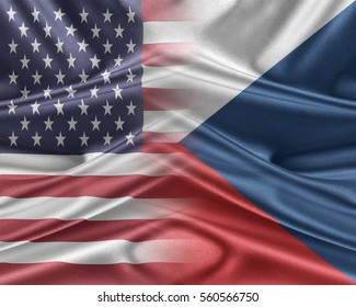 USA and Czech Republic. Relations between two countries. 3D illustration.