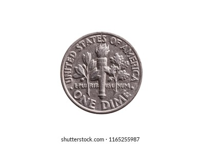 USA dime nickel coin (10 cents) reverse olive branch, torch and oak branch cut out and isolated on a white background
