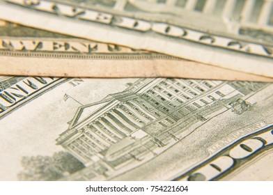 USA dollar banknotes macro close up