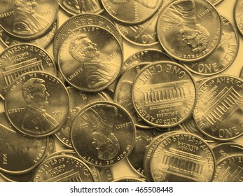 USA Dollar coins currency of the United States useful as a background - vintage sepia look