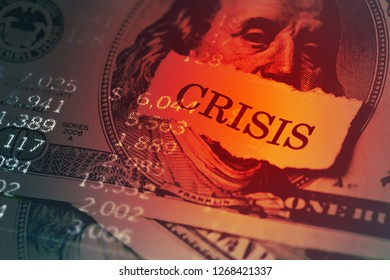 USA dollar with crisis text on paper. Crisis concept.