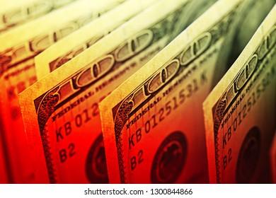 USA dollars. Small depth of field.
