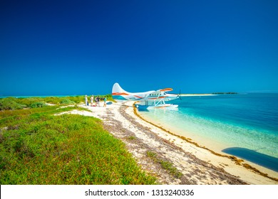 USA. DRY TORTUGAS. FEBRUARY 2019: Seaplane beach scene.