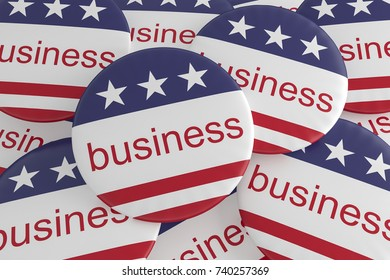 USA Economy Concept Badges: Pile of Business Buttons With US Flag, 3d illustration