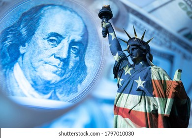 USA economy. Financial. Franklin's portrait next to statue of liberty. Statue of Liberty is painted in colors of the USA flag. Federal Reserve System of America. Concept - financial forecast for  USA - Shutterstock ID 1797010030