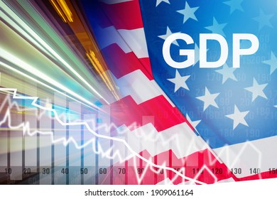 USA economy problems. Keeping America's GDP Crisis on financial market of America. Declining GDP of the United States. Falling rating next to USA share price. Concept - economists forecast for USA