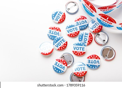 USA election buttons 2020 design. Patriotic stars and stripes theme pins isolated on white background, copy space