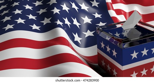 USA elections. ballot box on US America flag background. 3d illustration