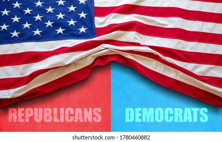 USA elections choice. Republicans, Democrats text and US flag on red and blue color background. Decision alternative for US of America election concept.