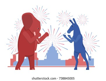The USA elections result illustration. Democratic donkey and republican elephant contest result.