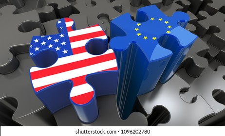 USA and EU flags on puzzle pieces. Political relationship concept. 3D rendering