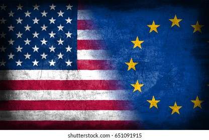 USA and European Union flag, with grunge metal texture