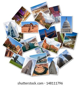 USA famous landmarks and landscapes photo collage, over white background