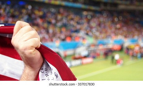 USA Fan Holding Up Flag
