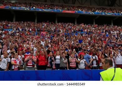 USA fans the FIFA Women's World Cup France 2019 Final football match USA vs Netherlands on 7 July 2019 Groupama Stadium Lyon France