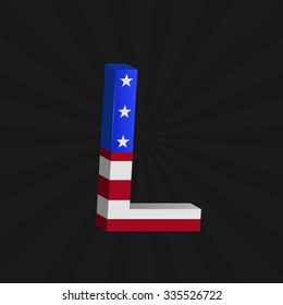 USA flag alphabet on the black background, Letter L. Raster illustration