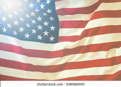 USA flag. American flag blowing wind. Close-up Studio shot.