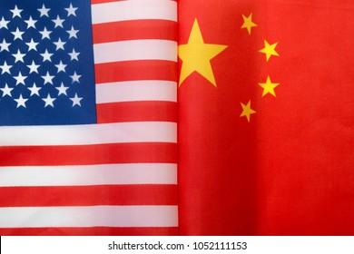 USA flag. American flag and China flag