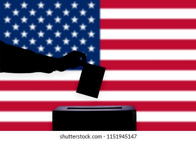 USA flag with ballot box during elections / referendum
