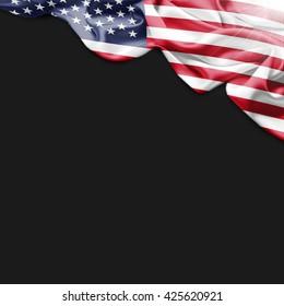 usa flag and black background