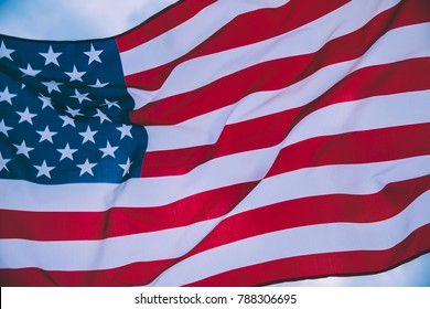 USA flag blown by the wind.