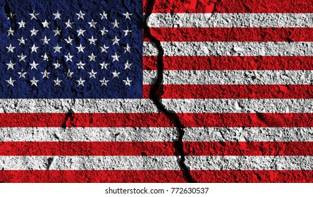 USA flag with crack through the middle. Country divided concept