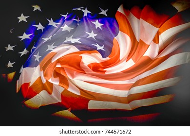 usa flag in the dark night as national background
