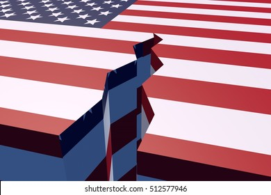 The usa flag is divided leaving a crack. 3D Rendering.