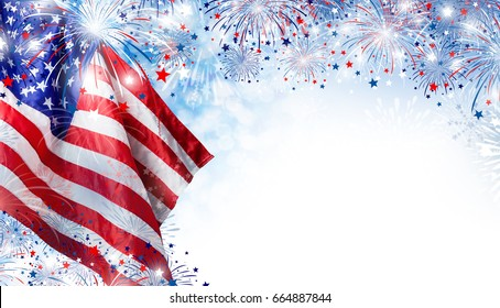 USA flag with fireworks background for 4 july independence day