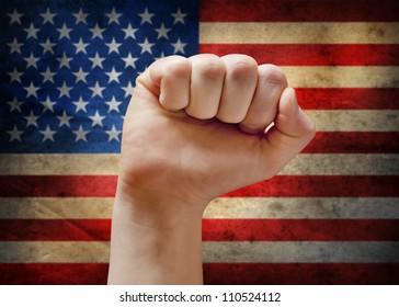 USA flag with fist.