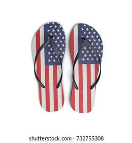 USA flag flip flop sandals on a white background. 3D Rendering
