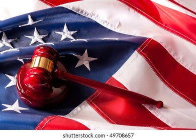 Usa Flag  and Gavel Legal System concept.
