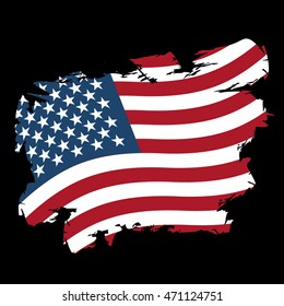 USA flag grunge style on black background. Brush strokes and ink splatter. National symbol of America