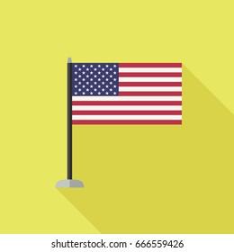 Usa flag icon with long shadow. Raster version