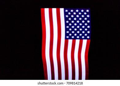USA Flag lightpainted on black background