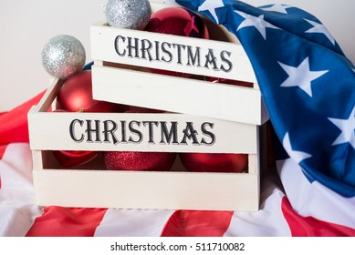 USA flag and Merry Xmas