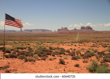 usa flag in monument valley