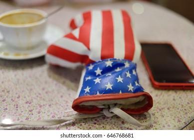 USA flag on boxing gloves