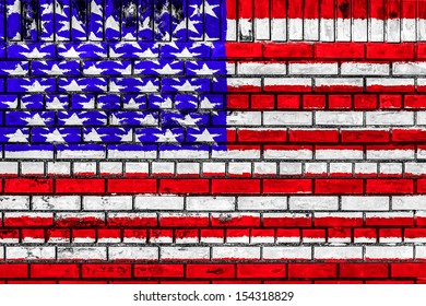USA flag on brick wall surface background texture