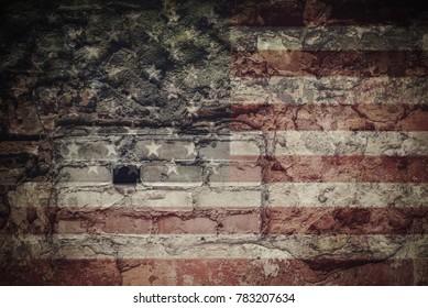USA flag on the brick wall texture