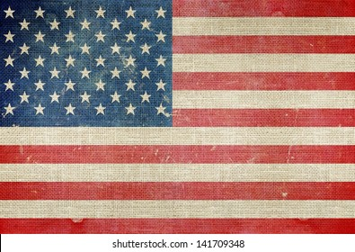 USA Flag on Canvas Background. Grungy US Map.