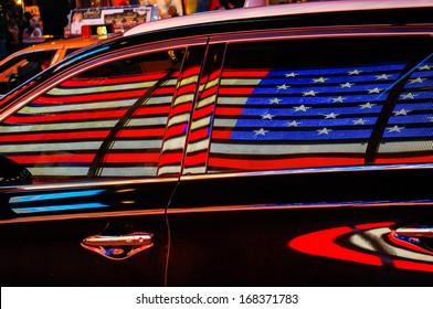 USA flag on car