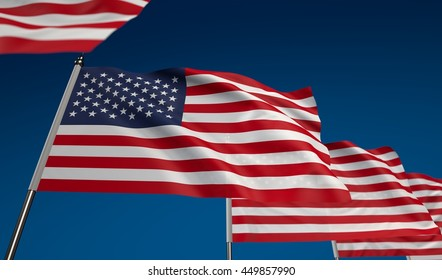 USA flag on clear blue sky, photo realistic waving flag made by 3D graphics with depth of field blur, ultra high 42MP resolution