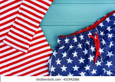 USA flag on clothing background