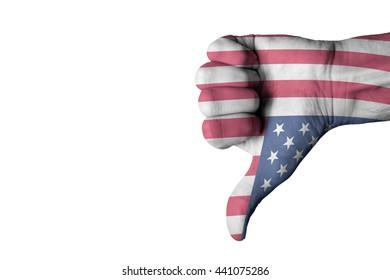 USA flag on human male thumb down hand