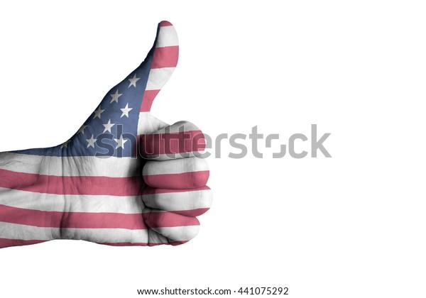 USA flag on human male thumb up hand