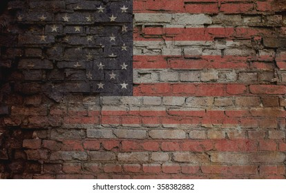 Usa flag on old brick wall