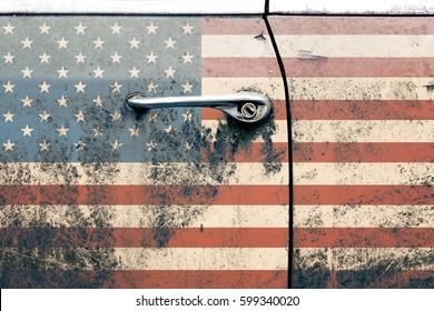 Usa flag on old car door. Retro photo. America. Interior poster