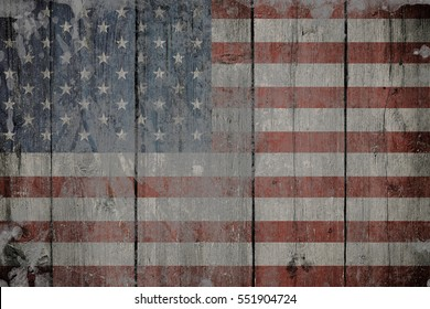 Usa flag on old wooden background